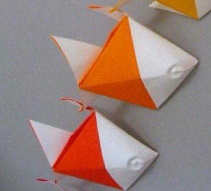 小鱼儿手工折纸 金鱼折纸手工diy图片教程