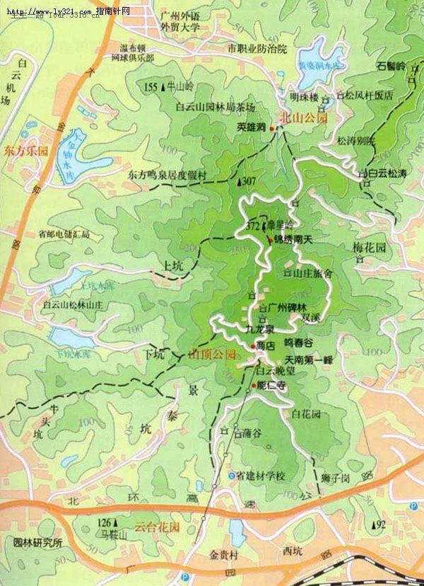 广州白云山旅游地图
