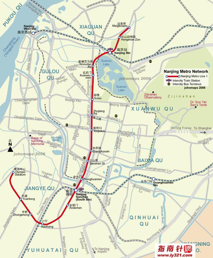 南京地铁一号线地图(中英文版)