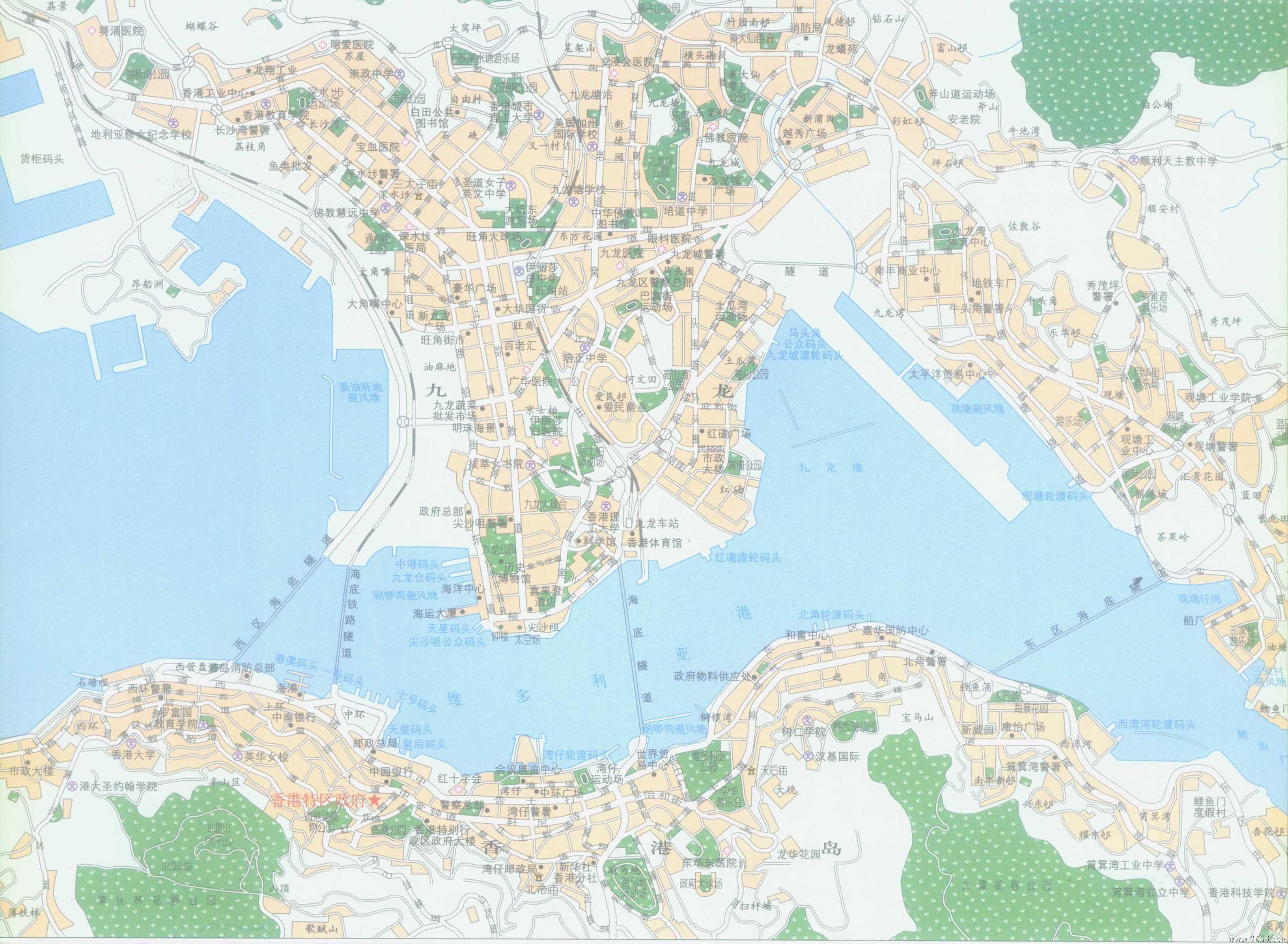 香港岛九龙区全图_香港地图查询