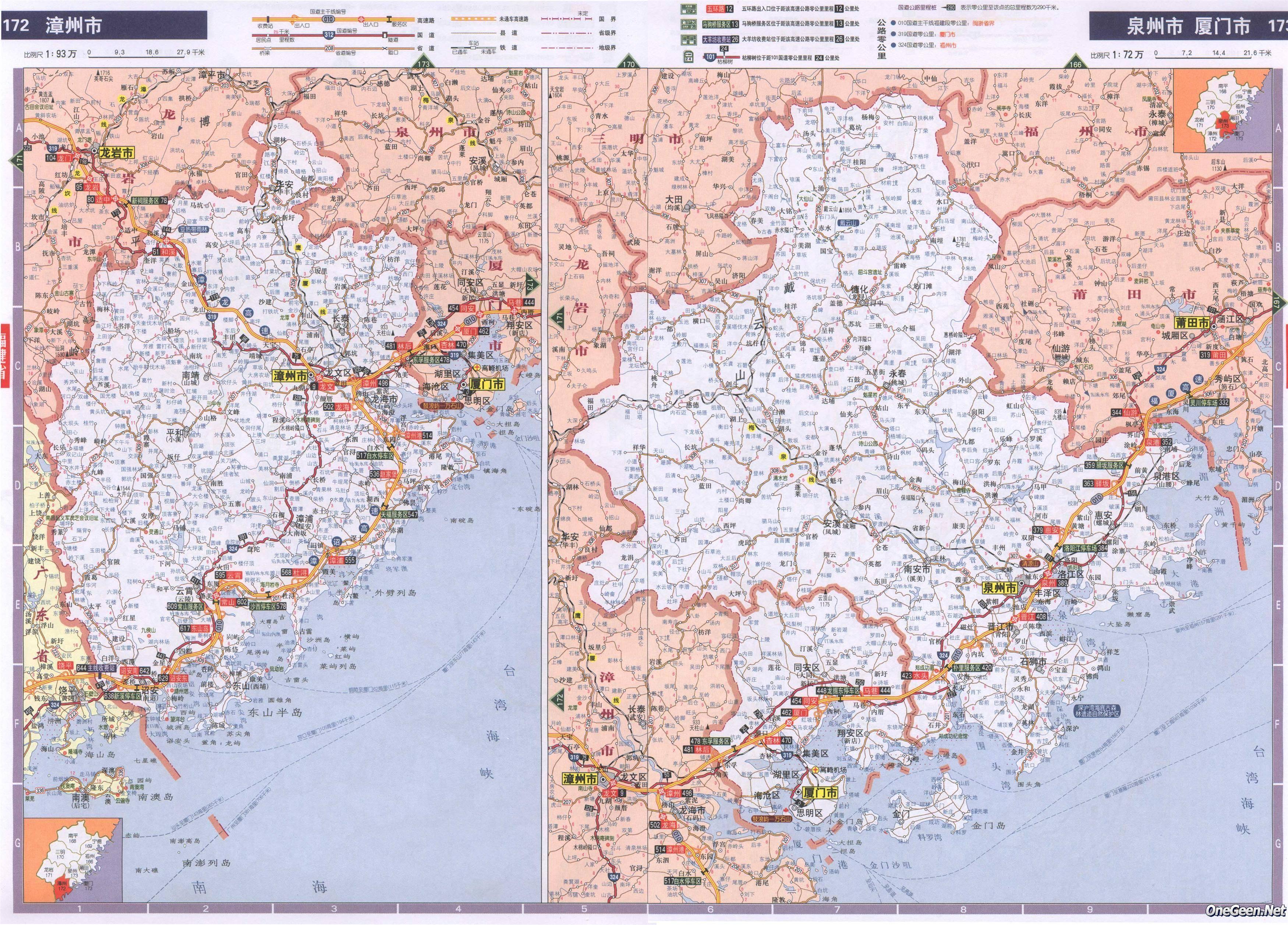 福建省漳州市泉州市交通地图