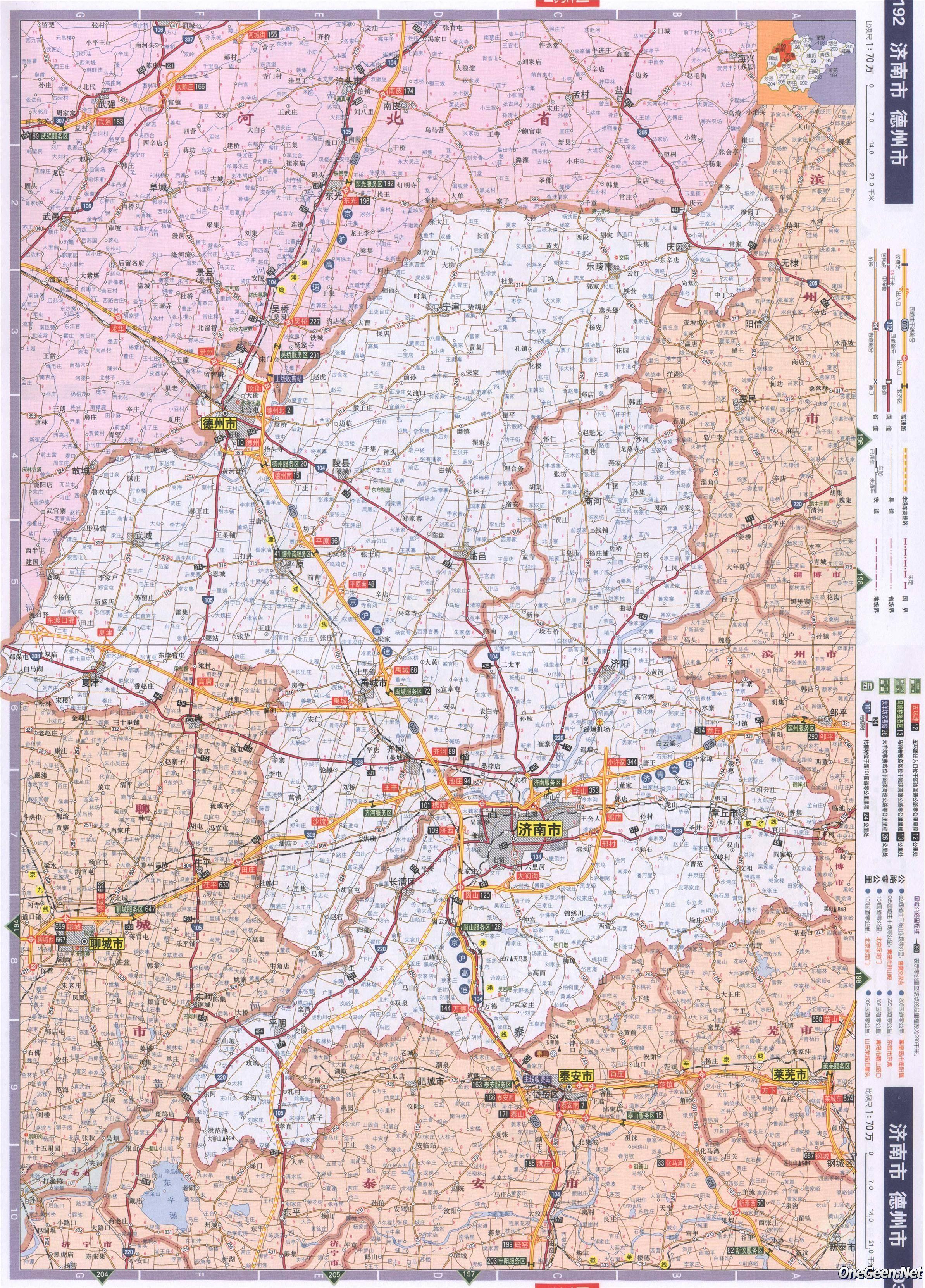 山东省济南市德州市交通地图
