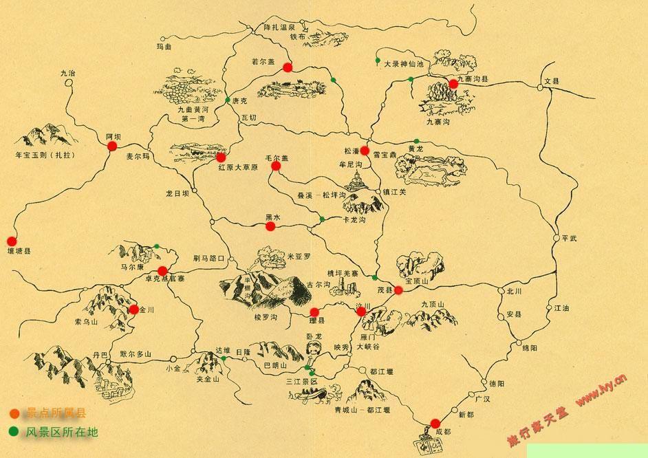 阿坝州风景区分布地图