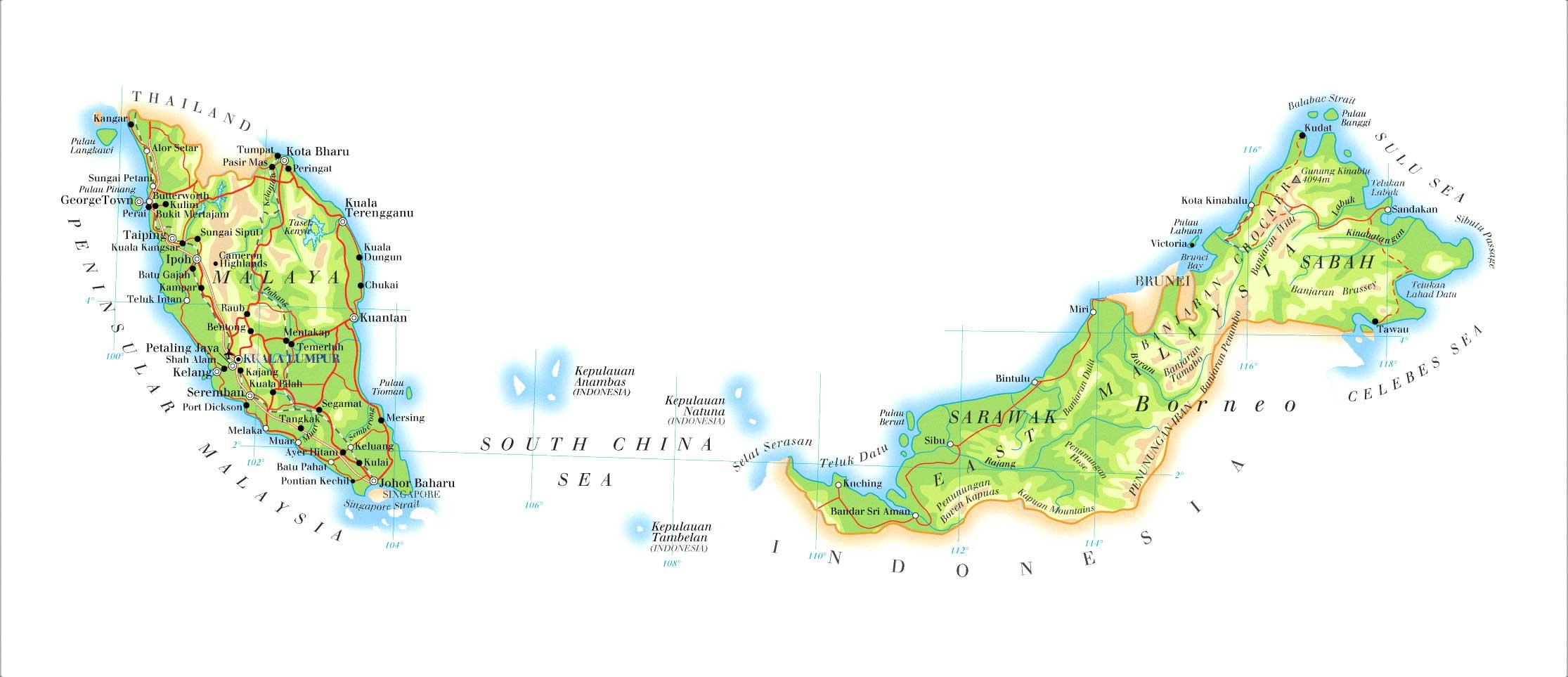 马来西亚地图英文版