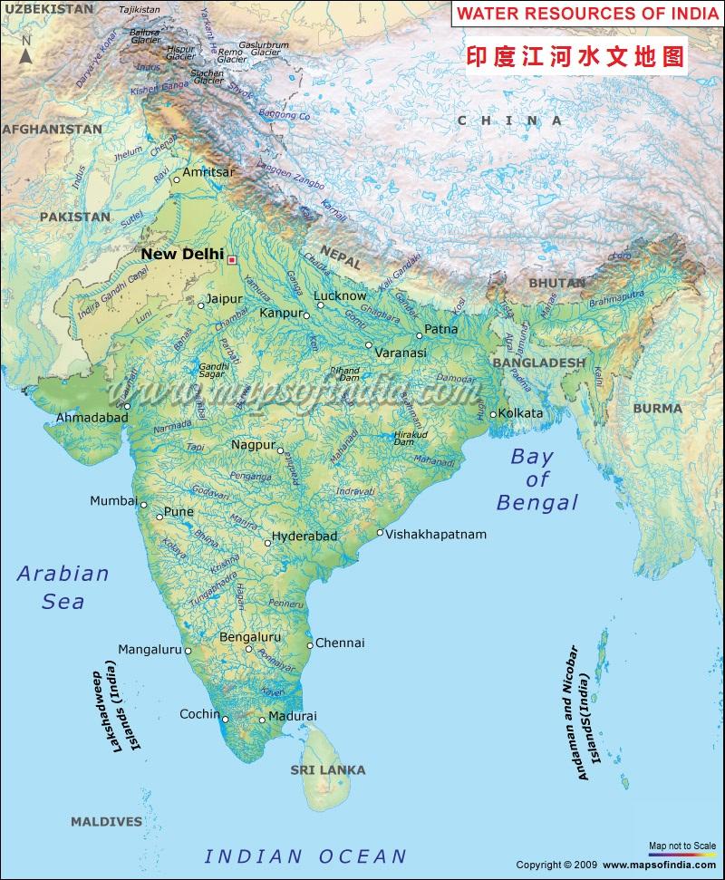 印度江河水文地图英文版