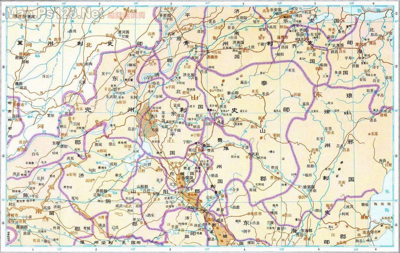 历史地图:东郡齐国间诸郡(东汉)