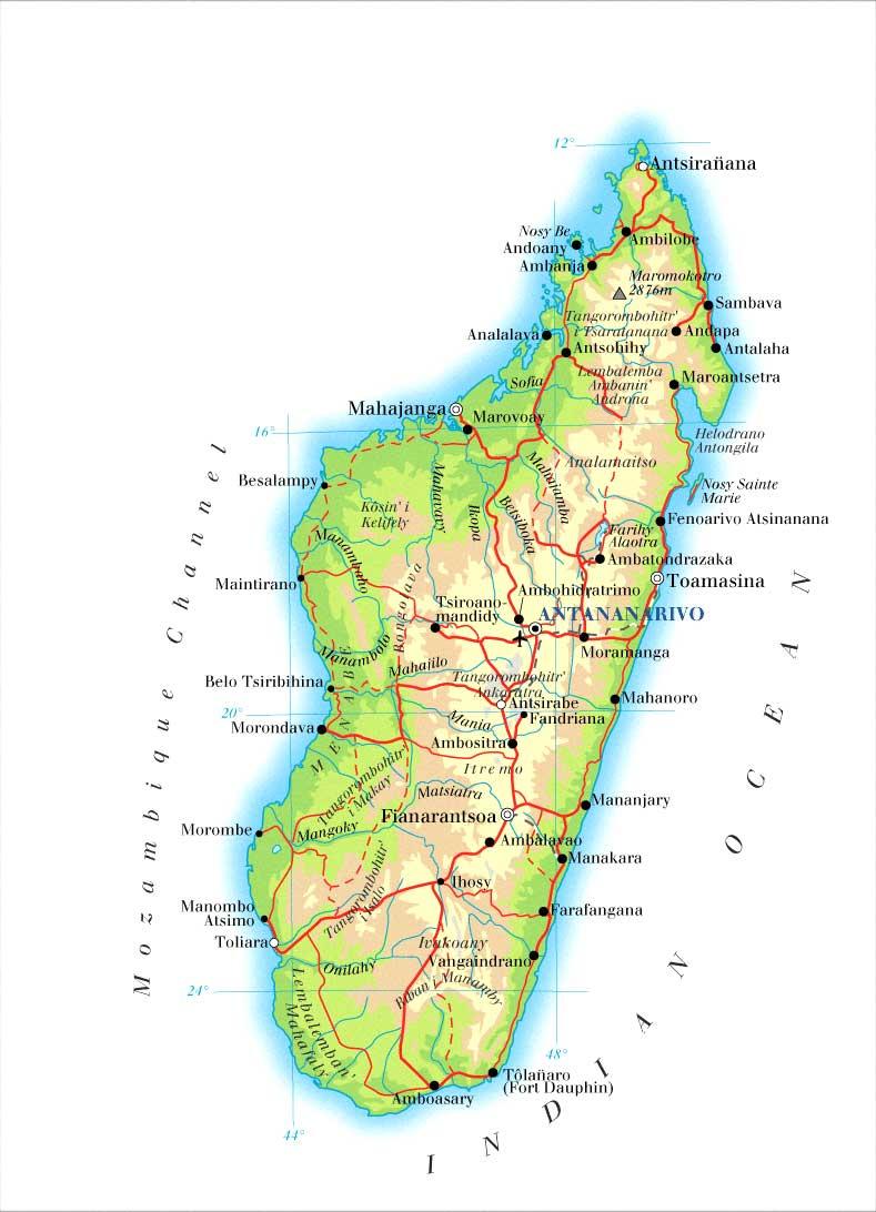 马达加斯加地图英文版