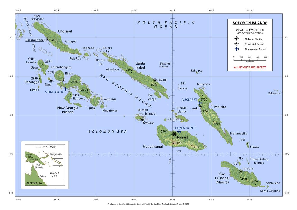 所罗门群岛英文版地图