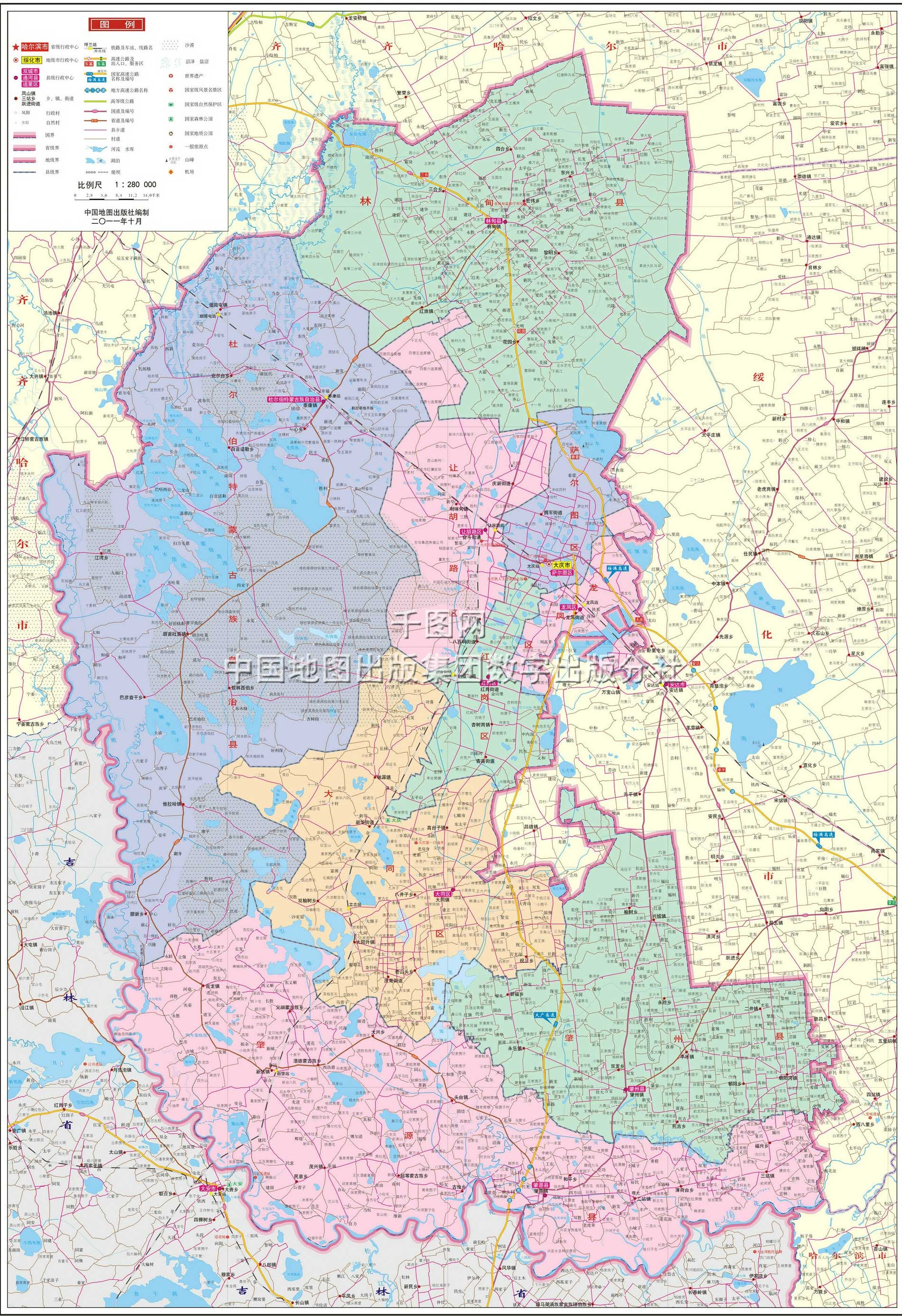 大庆市地图高清版