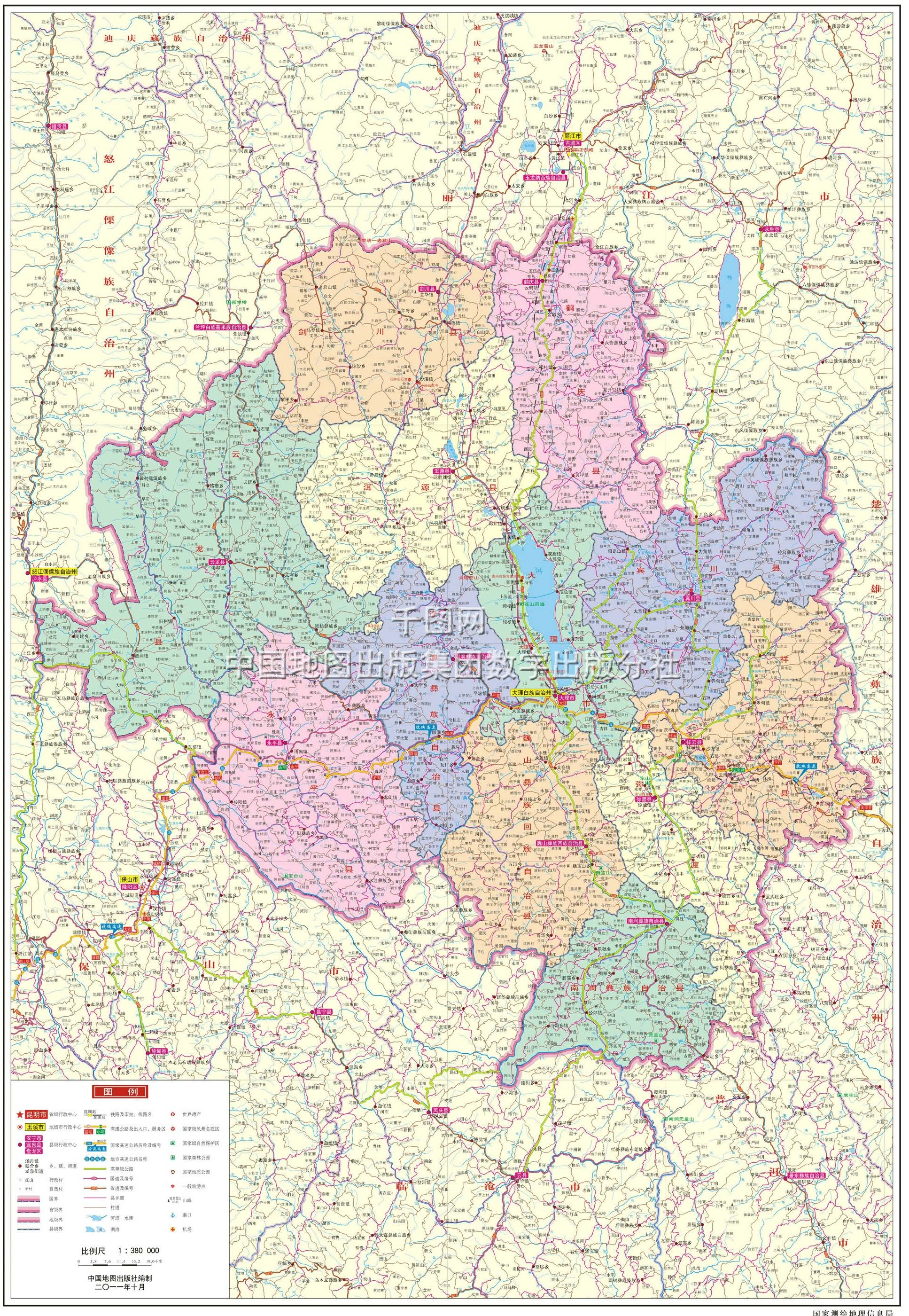 大理白族自治州地图高清版