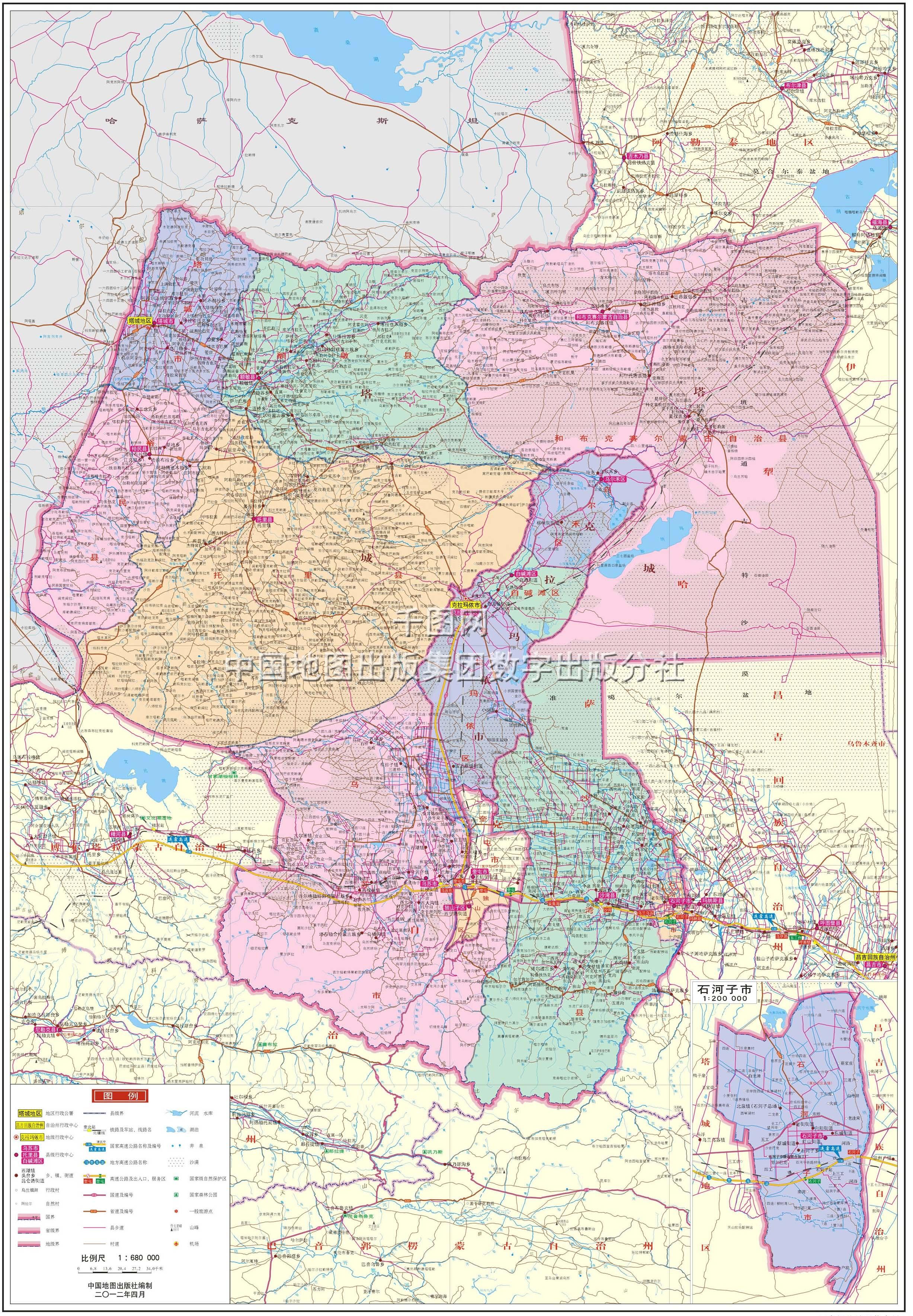 塔城地区地图高清版