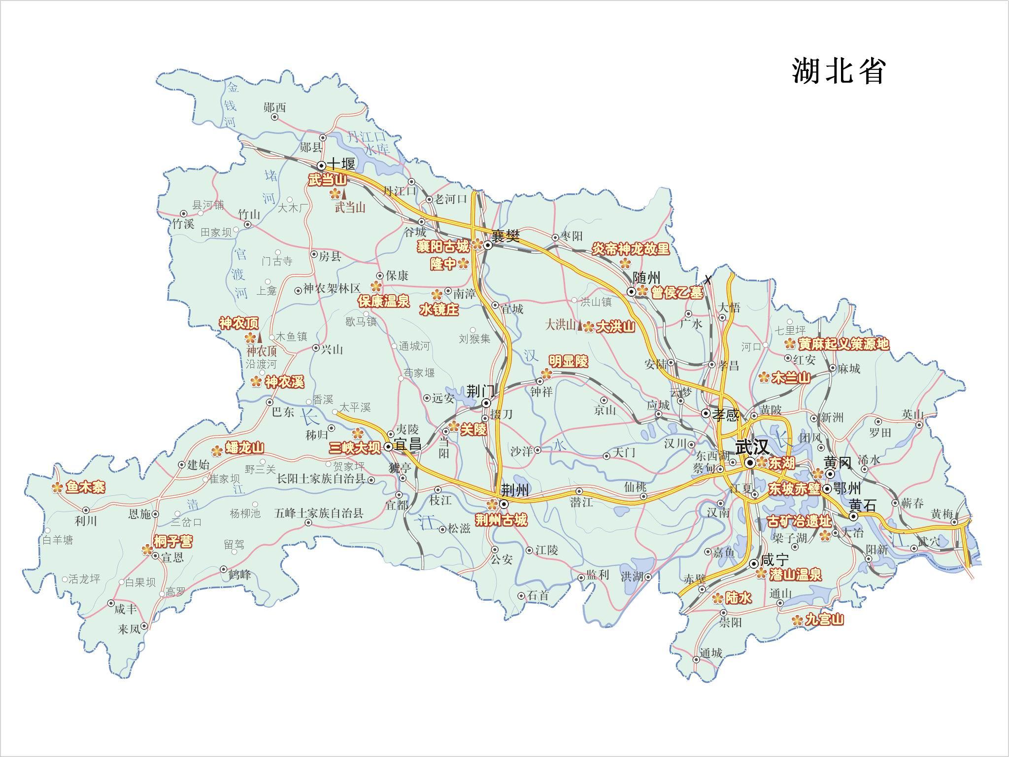 湖北省旅游景点分布图_湖北地图查询
