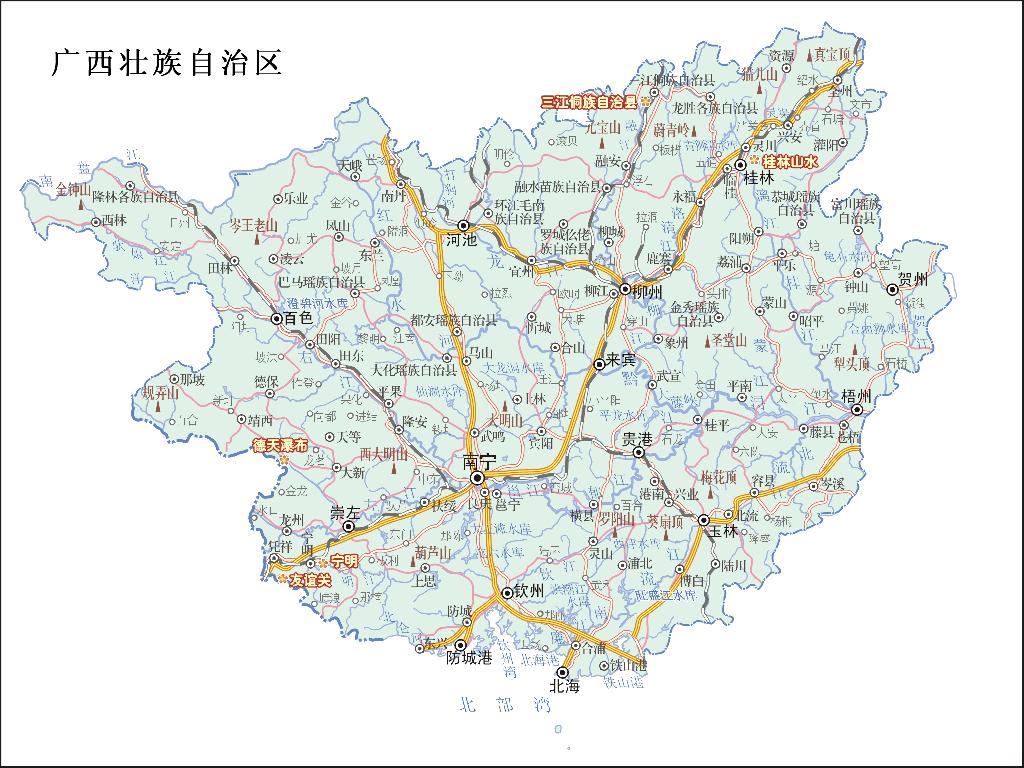 广西重点旅游景区分布图_广西地图查询