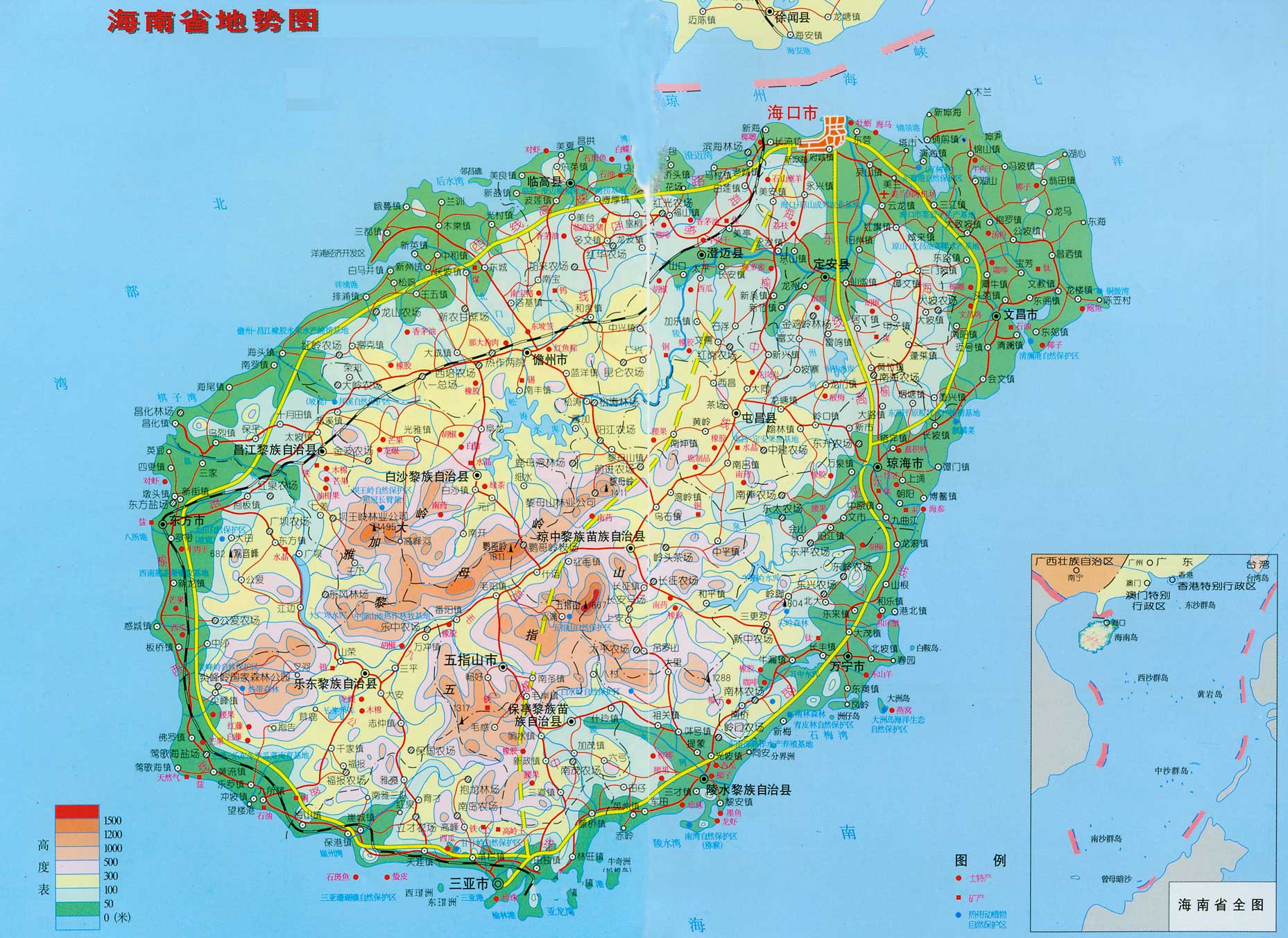 海南岛地形图_海南地图查询