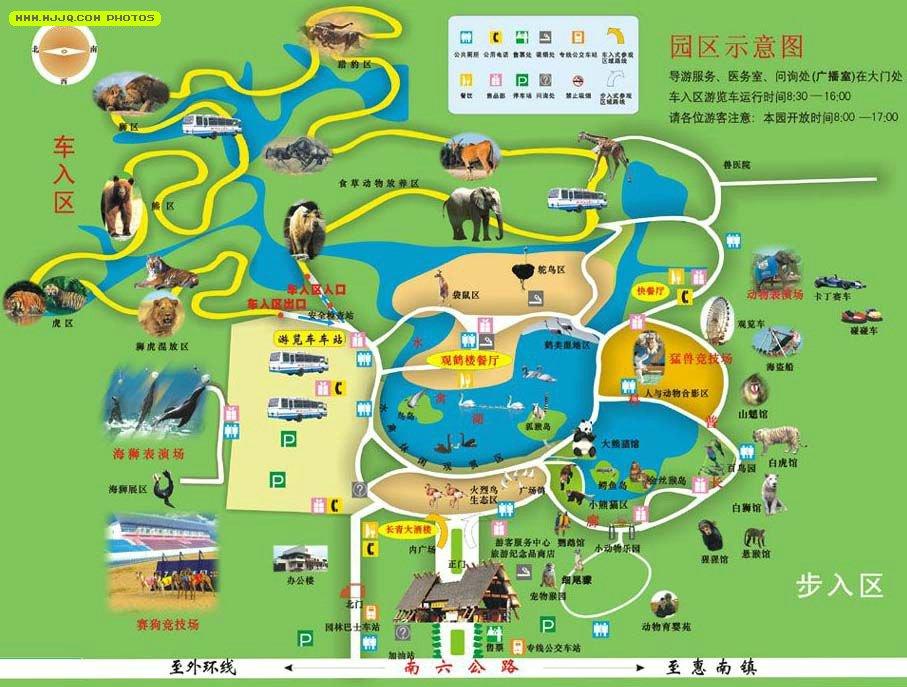 上海野生动物园导游图 2013-10-27、地图窝、浏览:(载入中...) 上海野生动物园是由上海市人民政府和国家林业局合作建设的中国首座国家级野生动物园,位于上海浦东南汇县三灶镇境内,占地153公顷(2300亩),距上海市中心约35公里。本园投资3亿元人民币,于1995年11月18日正式对外开放,是国家首批AAAA级旅游景点。  (长按地图可以放大、保存、分享)