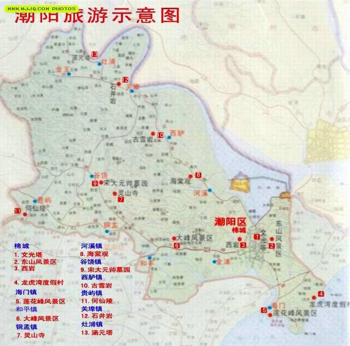 潮阳旅游景点分布图_广东旅游地图查询