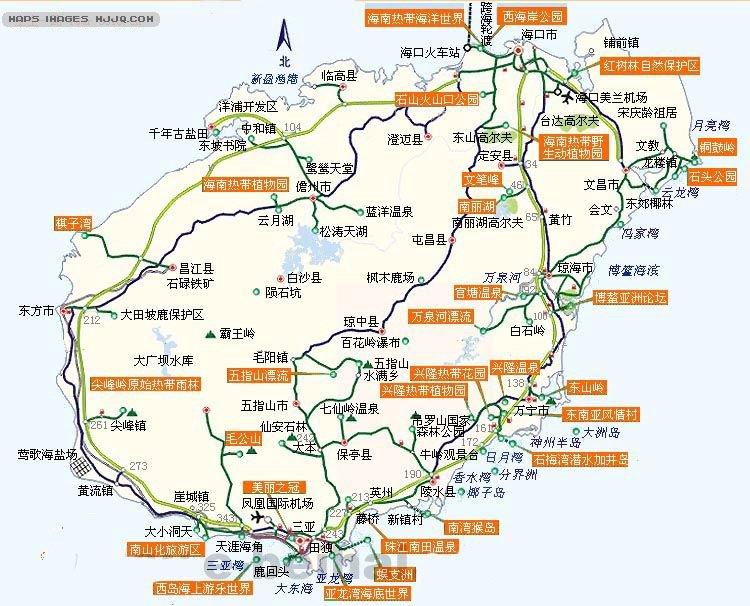海南岛旅游示意图_海南旅游地图查询