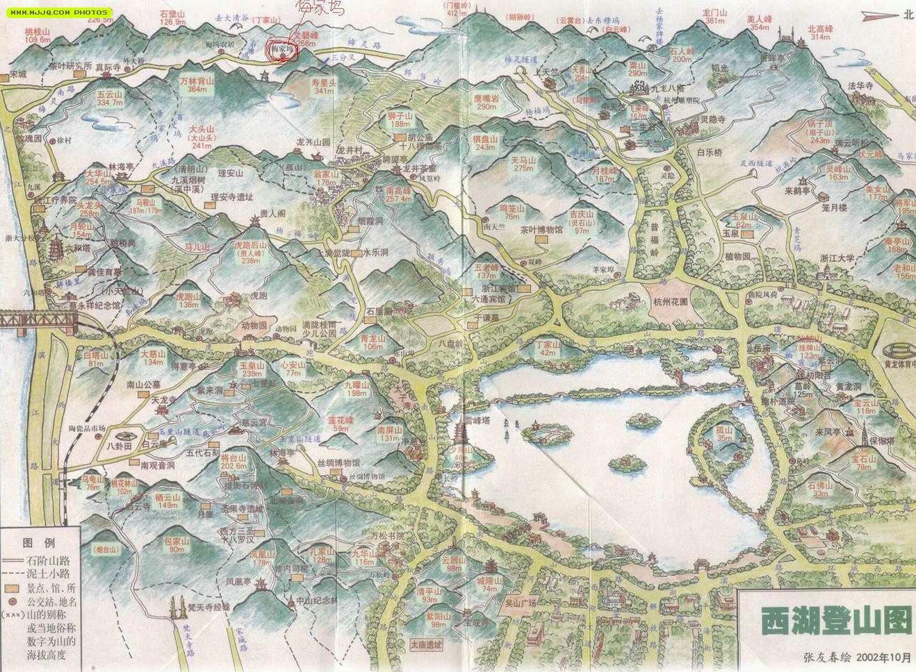 西湖登山地图图片
