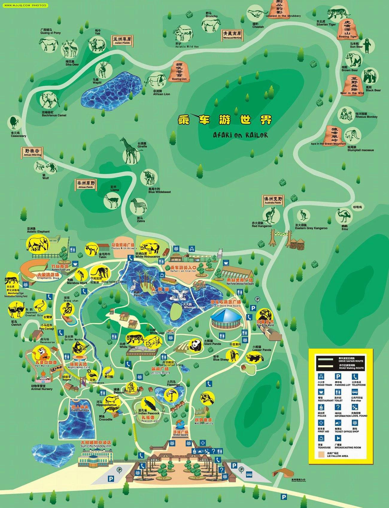 杭州野生动物园导游图_浙江旅游地图查询
