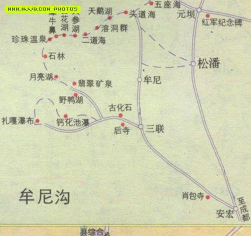 牟尼沟导游图_四川旅游地图查询