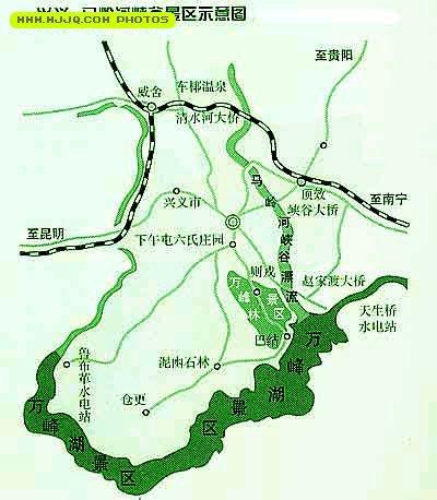 马岭河峡谷景区示意图_贵州旅游地图查询