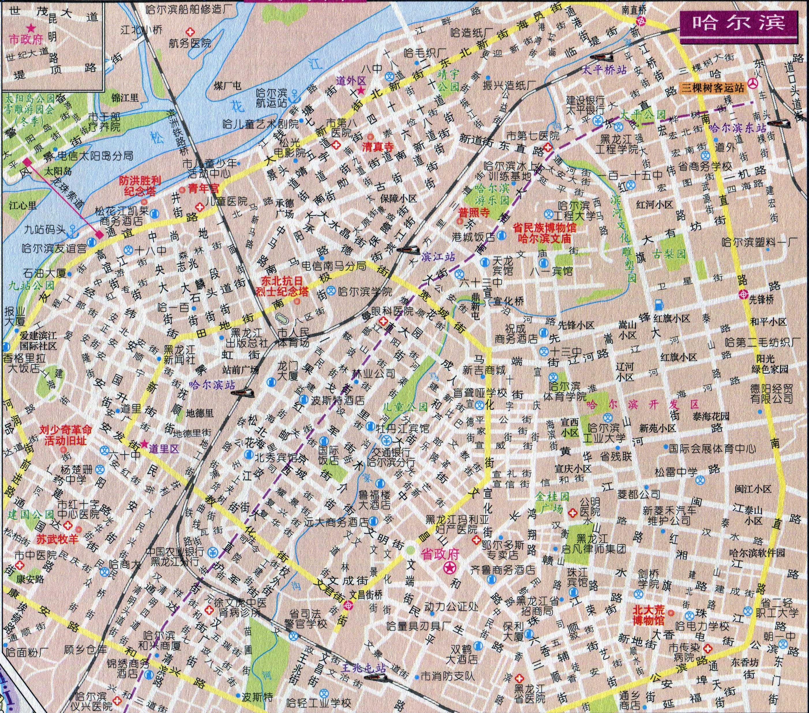 哈尔滨市区中心街道地图