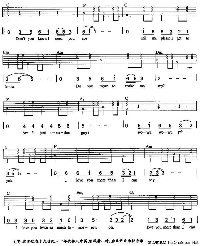 爱你在心口难开_吉他乐谱