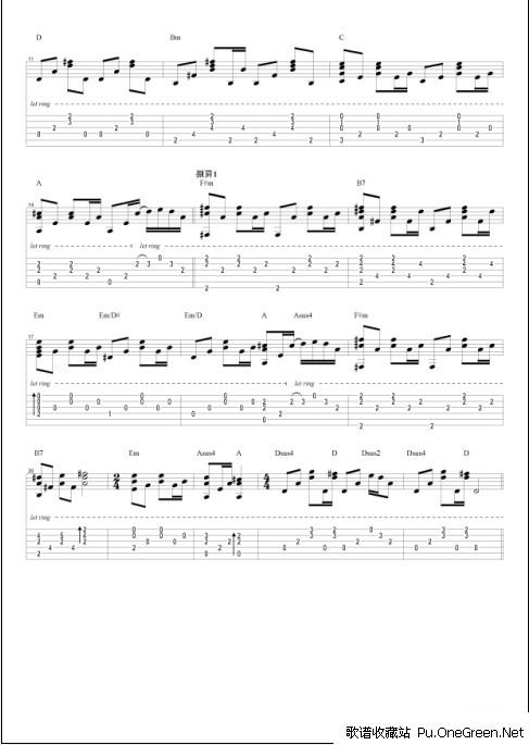 旅行的意义_吉他乐谱