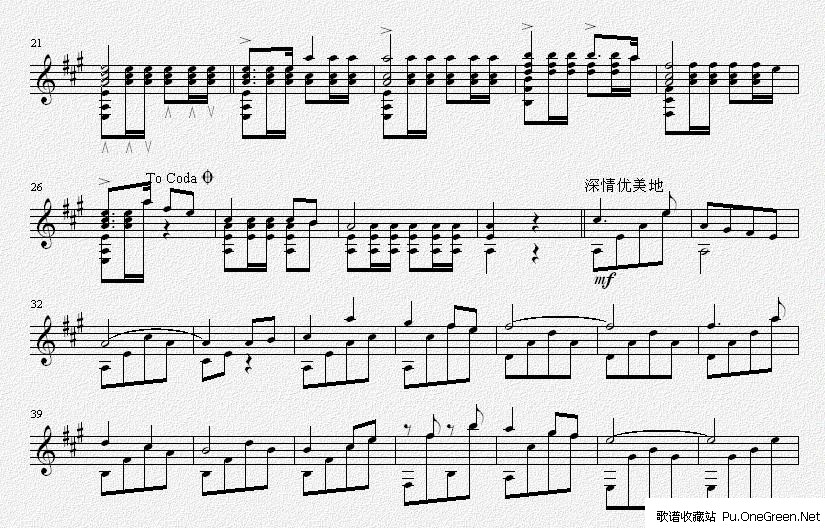闪闪的红星(吉他独奏谱)