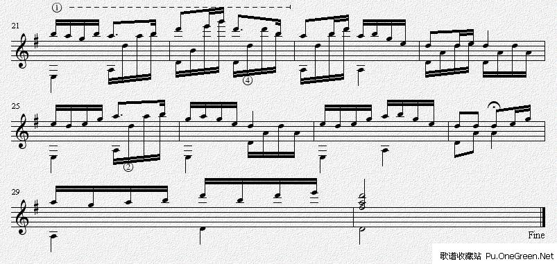 茉莉花_g调 吉他独奏谱(五线谱)