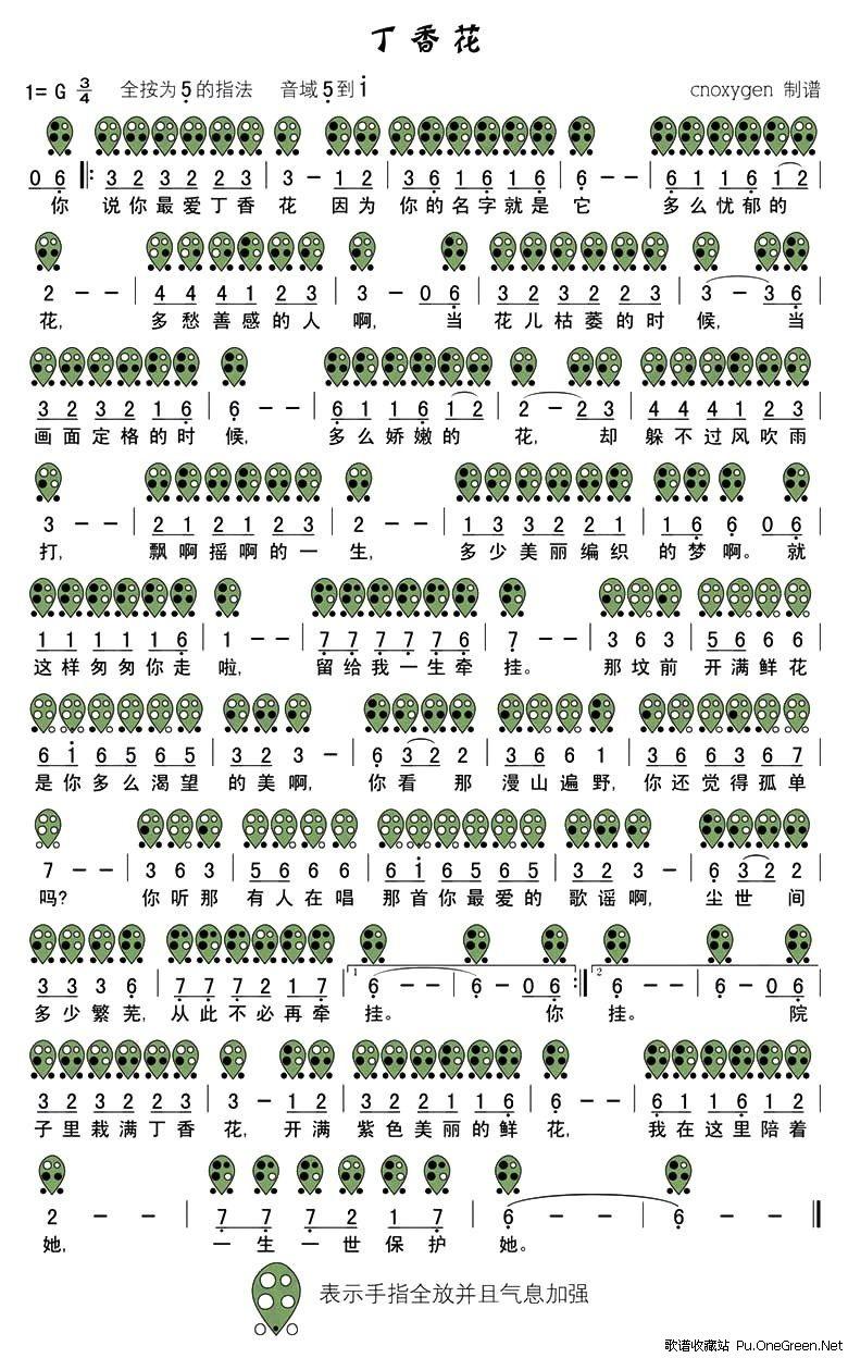 丁香花(六孔陶笛谱)图片