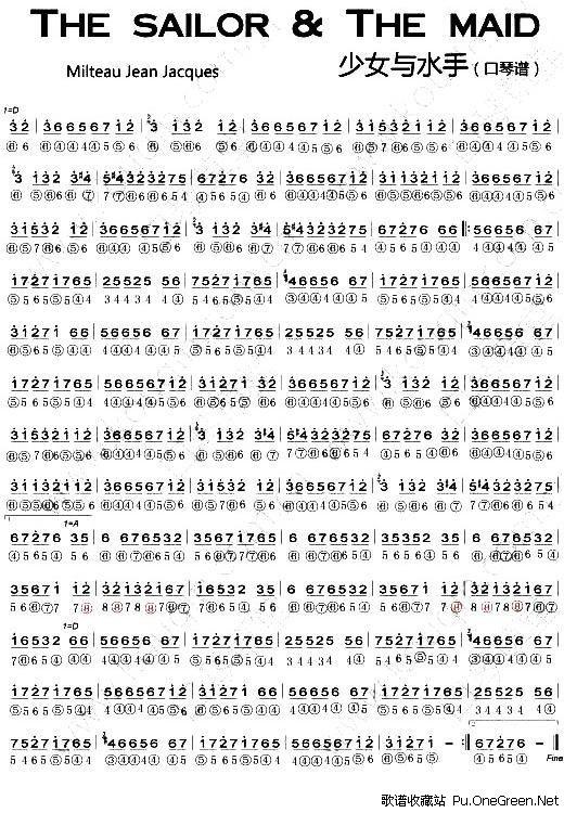 c调卡农口琴简谱10孔