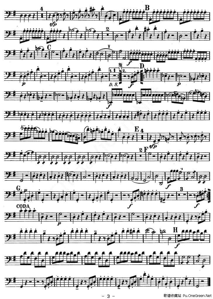 小夜曲 弦乐四重奏之大提琴分谱