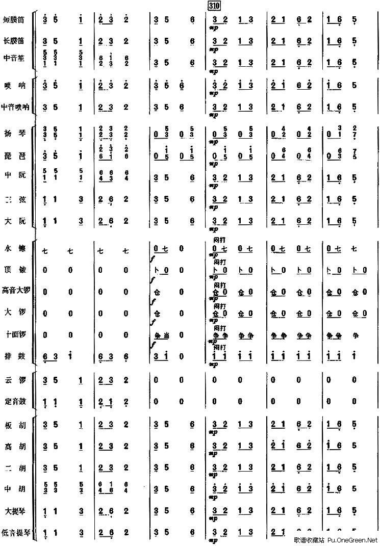 总谱/简谱:丰收锣鼓(民乐合奏)续16; 温馨提示:在《丰收锣鼓(民乐合奏