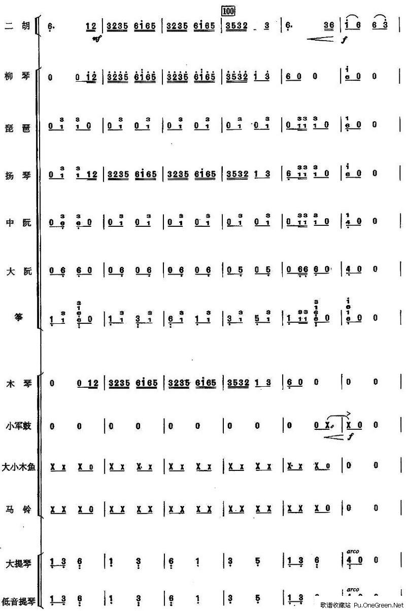 民乐合奏总谱简谱