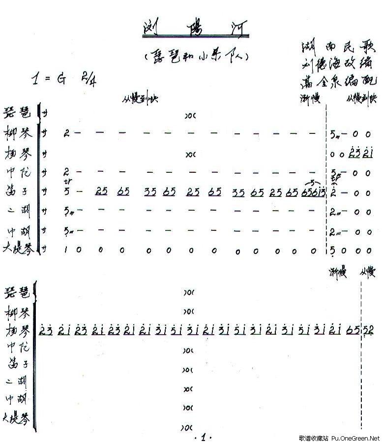 浏阳河总谱