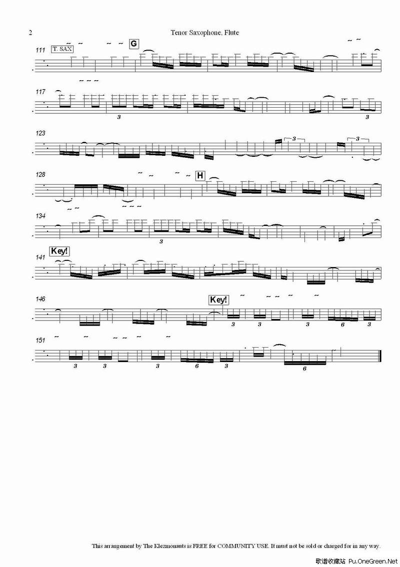 拉威尔 次中萨克斯管与长笛分谱图片