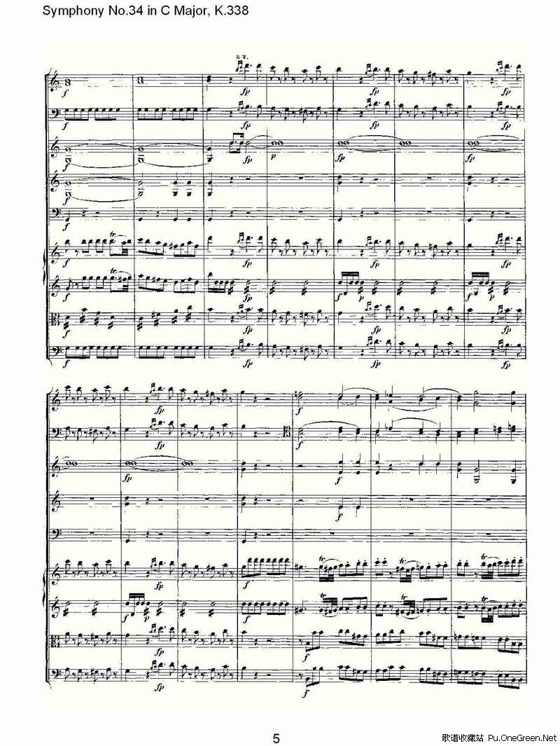 摇篮曲交响乐谱子-C大调第三十四交响曲K.338 一