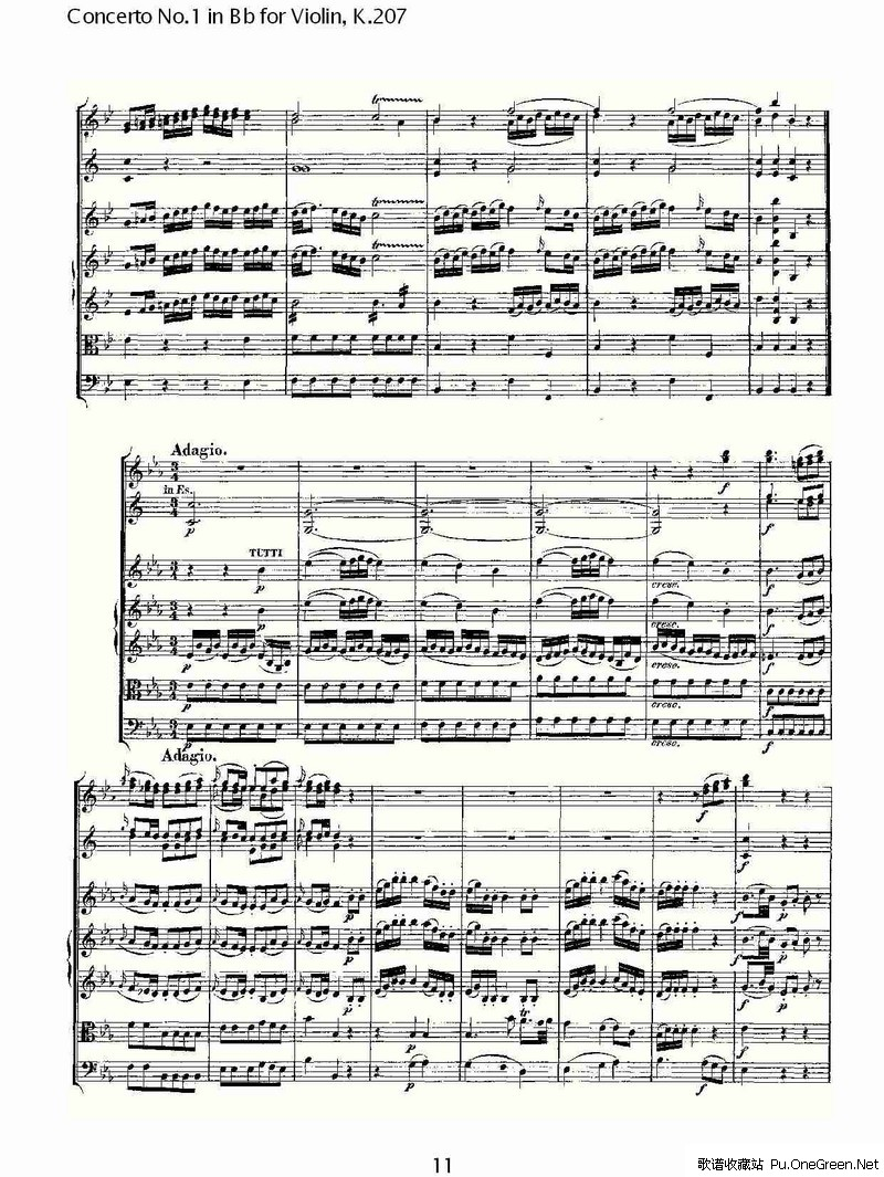 bb调小提琴第一协奏曲, k.207 (三)
