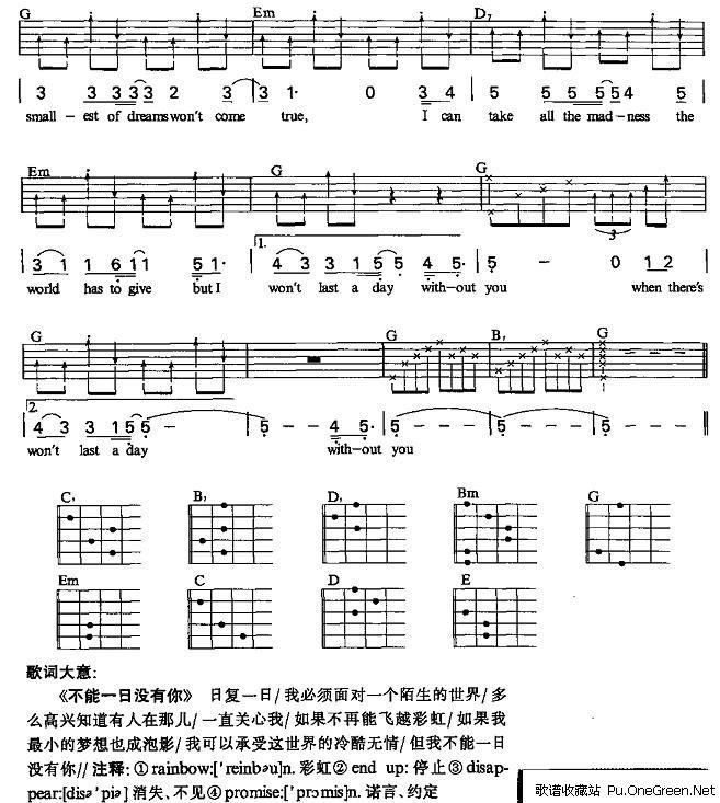 上一首歌谱:童年吉他谱 喀什怒放-不能一日没有你