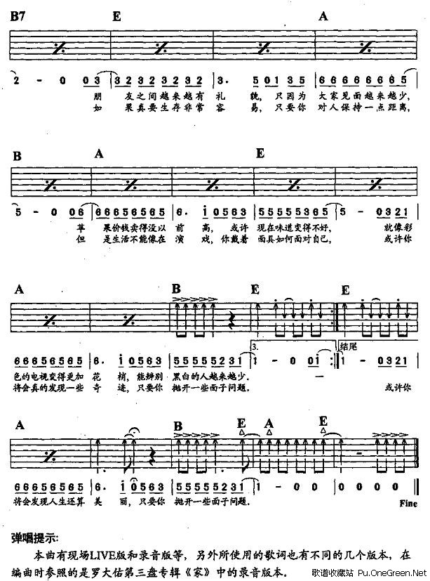 6弦吉他晴天谱子