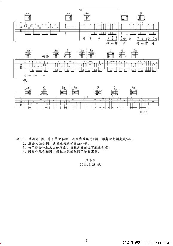 動漫 海綿寶寶 主題曲吉他