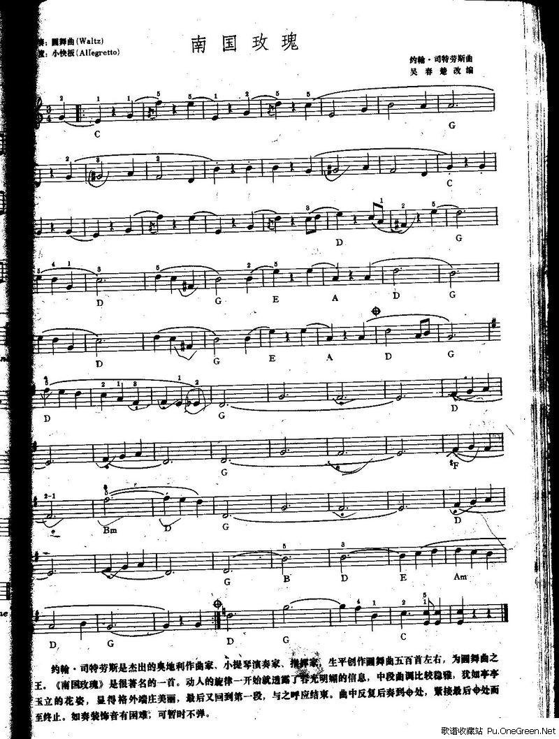 南国玫瑰 中级班电子琴乐谱