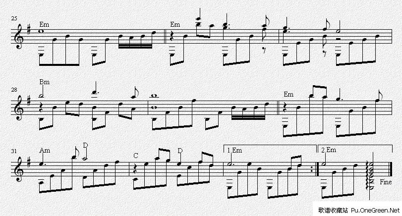 铁血丹心(吉他独奏谱)五线谱