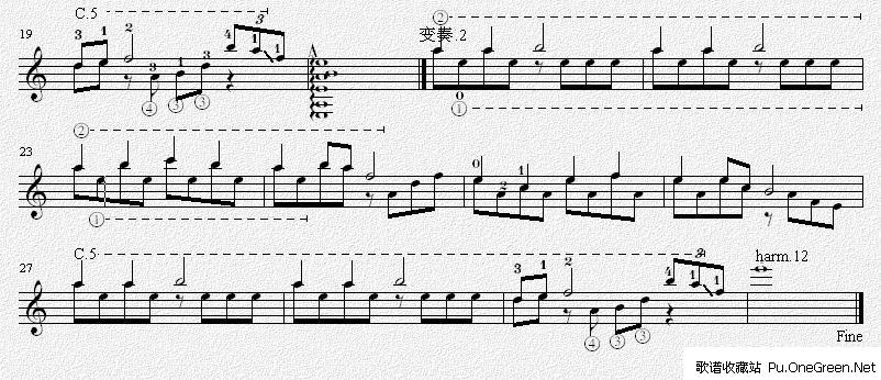 樱花 吉他独奏谱(五线谱) 全把位练习