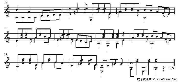 三套车(五线谱) 吉他独奏谱完整版
