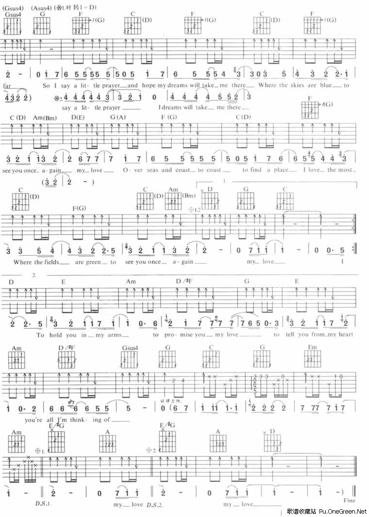 My love 吉他谱,简谱 Westlife 歌谱收藏站 -My love 吉他谱,简谱