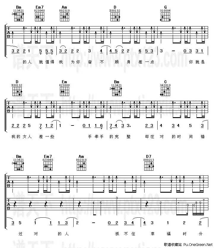 差一点(吉他谱)_阿杜_吉他乐谱_歌谱收藏站