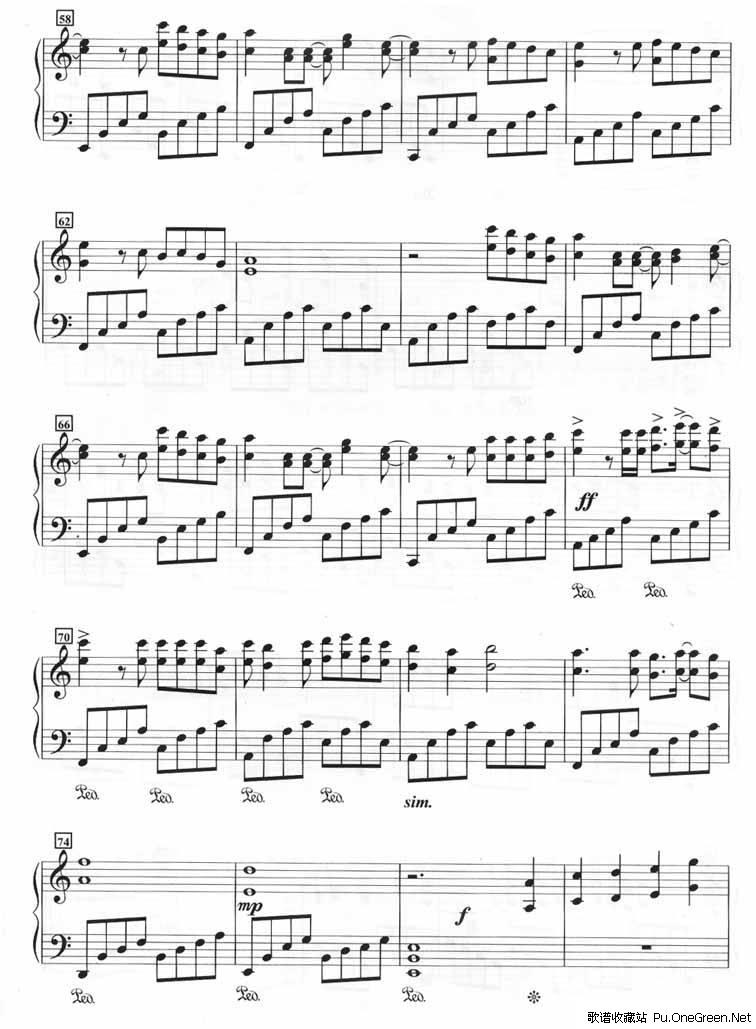 爱情的海洋 钢琴谱