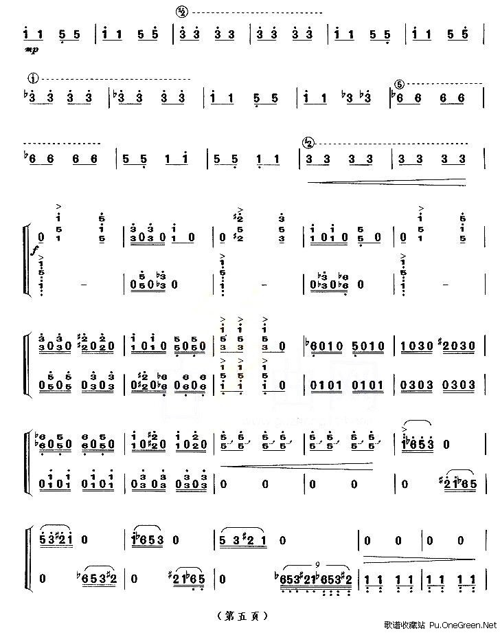 林冲夜奔古筝曲谱9级分享展示